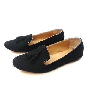 J.Crew Black Suede Tassel Loafers Sz 9